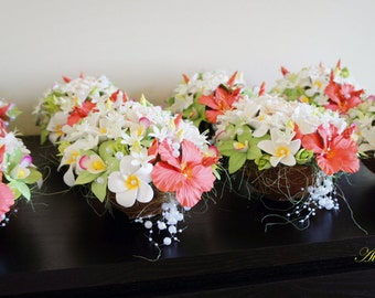 Tropical Wedding Centrepieces,Flowers in Coconut,Beach Wedding Centrepieces,Flower Arrangement in Coral Colour