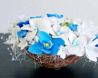 Tropical Wedding Centerpieces,Flowers in Coconut,Beach Wedding Centerpieces