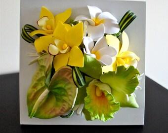 Tropical flower arrangement,flower decor,handmade flower,flower arrangement