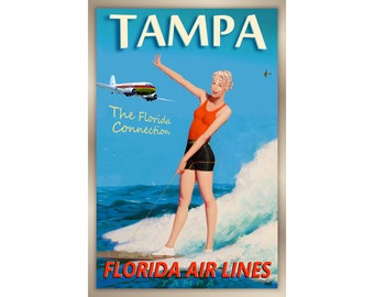 TALLAHASSEE Florida Airlines DC3 Travel Poster Sandra Dee Pin Up Art Print 249