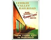 LEHIGH VALLEY Railroad Pennsylvania Train Travel Poster Original Black Diamond Honeymoon Express Retro Art Print 090