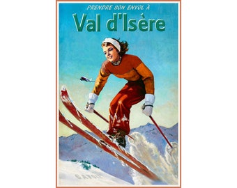 Rec French Alps Vintage Snowboarder A4 A3 Travel Poster Art Print Val-D/'isere