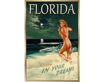 POSTER LONG ISLAND NEW YORK BEACH CHILDREN PLAYING TRAVEL VINTAGE REPRO FREE S//H