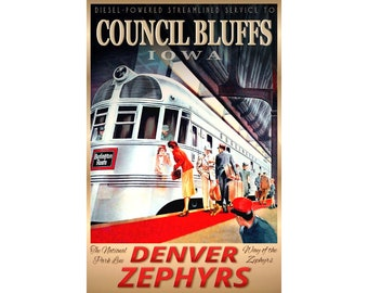 TEXAS ZEPHYR Burlington Route New Retro Railroad Train Poster Art Print 156