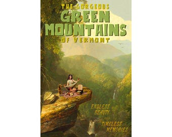 Green Mountains Vermont Travel Poster Picnic Goldendoodle Pin Up Art Print 337