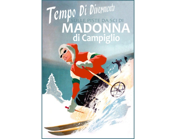Catskills New York Snow Ski Pot High Mountains Travel Poster Paris Art Print 329