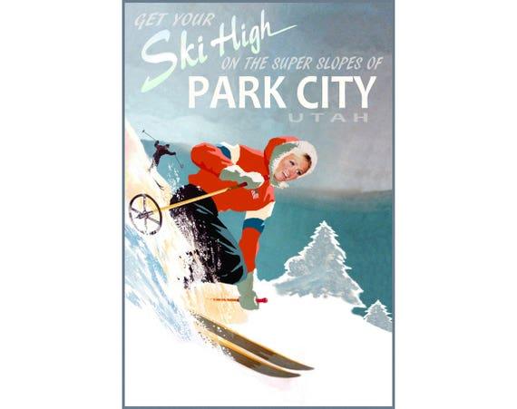 WINTER SPORT 1948 PARK CITY UTAH COUPLE SKI TRAVEL SKIING VINTAGE POSTER REPRO