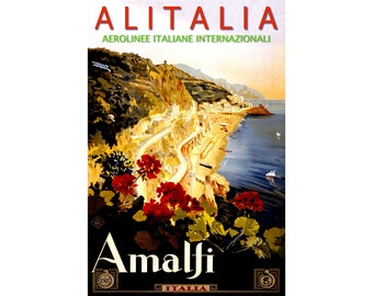 Alitalia AMALFI ITALY New Retro 1947 Travel Reproduction Poster Airline Airport Art Print 173