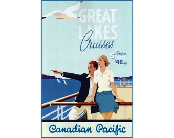 Great Lakes Cruises Poster Vintage Canadian Pacific Railroad Travel Repro Art Print 308