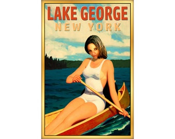 Lake George New York Travel Poster Upstate Canoe Pin Up Adirondack Mountains Art Print 273