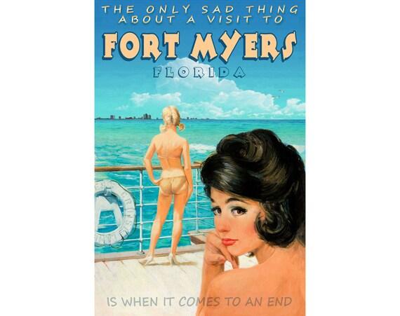 FORT MYERS Florida Marilyn Monroe Poster New Retro Beach Pin Up Art Print 263