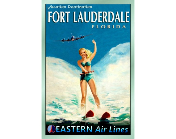 Florida Original Sunshine State Ocean Beach Poster Atlantic Pin Up Art Print 205