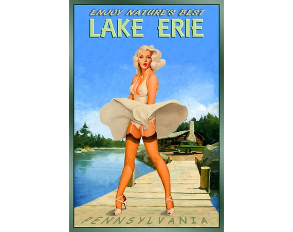 Cape Fear North Carolina New Original Travel Poster Marilyn Pin Up Art Print 172