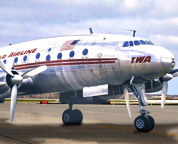 KANSAS CITY TWA Constellation Airliner Retro Plane Travel Poster Art Print 095