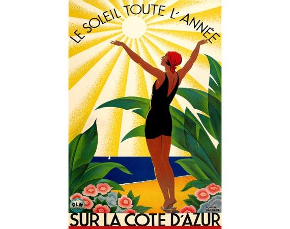 Saint Tropez Cote D/'Azur Varoise Travel Poster Roger Broders Repro Art Print 313