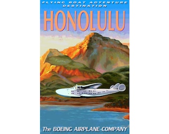 "Boeing 314 FLYING BOAT - New Retro Seaplane Travel Poster - 4 sizes up to 24""x36""-available in 7 destinations: Honolulu China Manila - 046"