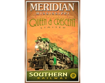 Meridian MS QUEEN&CRESCENT Limited Railway Travel Poster New Orleans to Cincinnati Southern Railroad Train-4 sizes-Retro Art Print 228