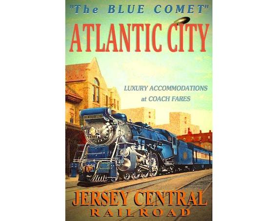 LAKEHURST New Jersey Central Railroad BLUE COMET Train Poster Art Print 042