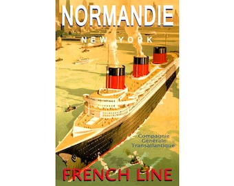 French Lines SS NORMANDIE New Retro Travel New York Harbor Poster Art Deco Print  Ocean Liner Steamship Cruise 194