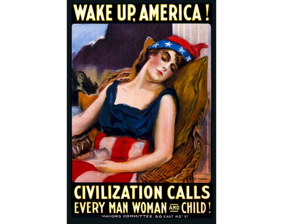 Wake Up America Poster James Montgomery Flagg Reproduction Classic Art Print 309
