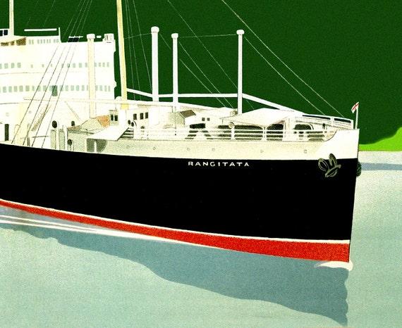 NEW ZEALAND LINES Rangitata Panama Ocean Liner Ship Travel Poster Art Print 212