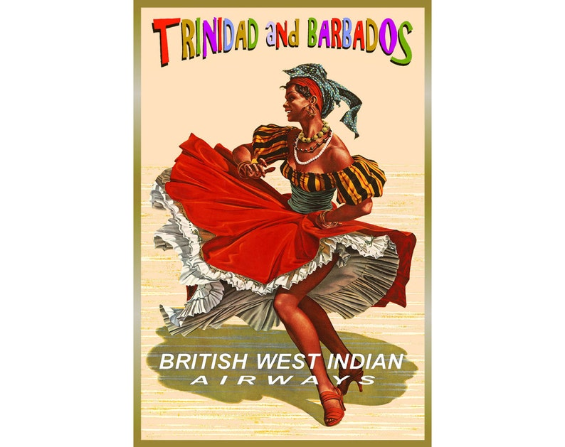 British West Indian Airways New Retro Pinup Travel Poster Trinidad Barbados  Caribbean Islands Tropical Art Print 121