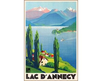 Lac D'Annecy France Travel Poster PLM Chemin de Fer Railway Art Roger Broders Repro Print 312