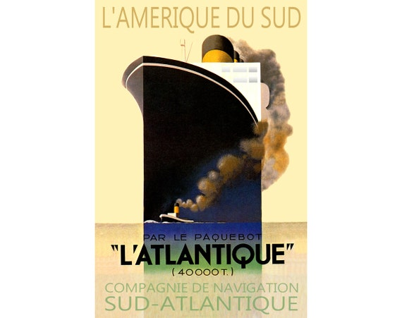 Deco Amerique l'atlantique french ocean liner art deco ship travel | etsy