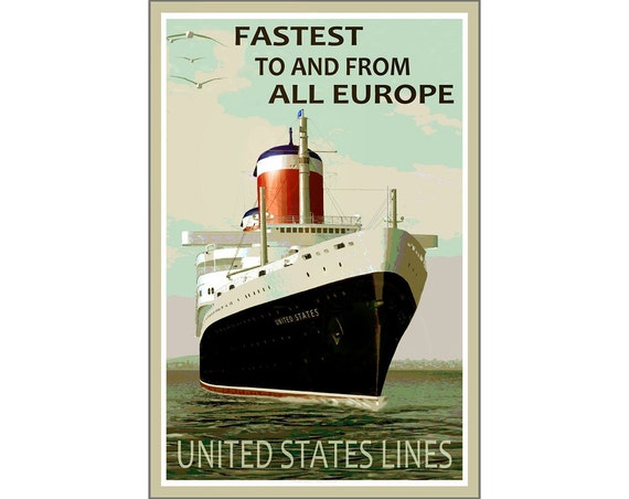 SS United States Lines Poster Marilyn Monroe Welcome Aboard Pin Up Art Print 235
