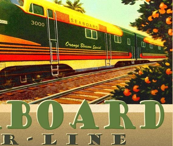 Seaboard Air Line Railroad Diesel Locomotive Train Poster Florida Art Print 021