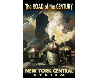 20th CENTURY New York Central System New Retro Poster  Dreyfuss Streamliner Railroad Train  Art Deco Print 218
