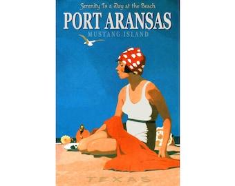 Port Aransas Mustang Island Texas Travel Repro Poster Beach Retro Art Deco Print 041