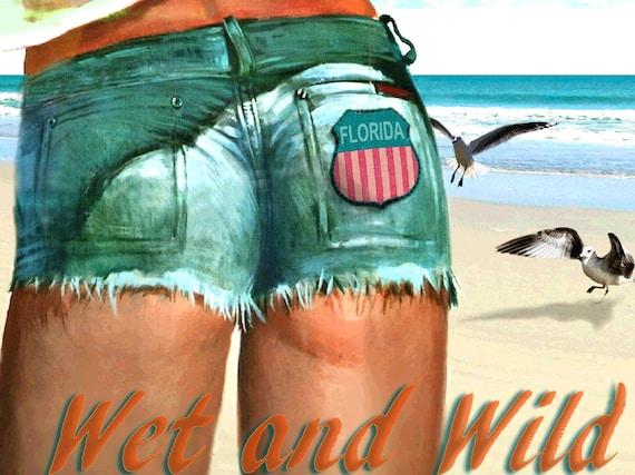 CLEARWATER Marilyn Monroe Florida Retro Beach Dog Poster Pin Up Art Print 263