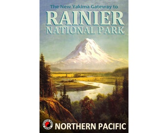 Northern Pacific Railroad Train Travel Poster Rainier National Park Washington Pacific Northwest Art Print 307