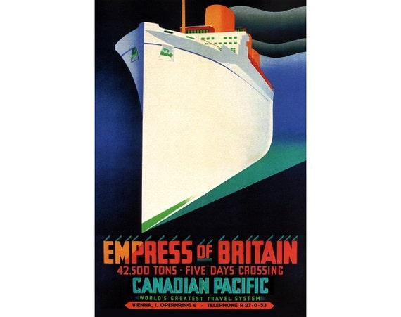 Vintage Art Deco Ocean Liner Poster Empress of Britain Cruise Ship 1930s Retro