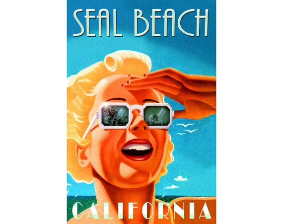 VENICE BEACH California New Original  Poster Pacific Ocean Pin Up Art Print 241