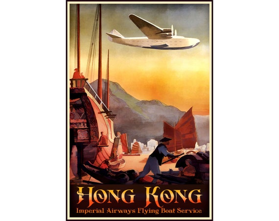 Vintage Imperial Airways Flights to Africa and Australia Poster Print A3//A4