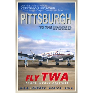 Africa Fly TWA 1960s Vintage Style Airline Travel Poster 24x36