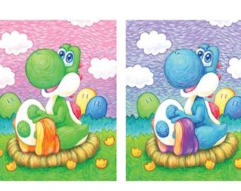 Yoshi with an Egg Art Print - Video Game Art - Cute Mario Dinosaur Gift for Gamer Katie Clark Art