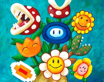 Mario Van Gogh's Flower Vase - Art Print - Alternative Vincent Van Gogh Sunflowers - Geek Painting - Video Game Fan Art - Yoshi's Island
