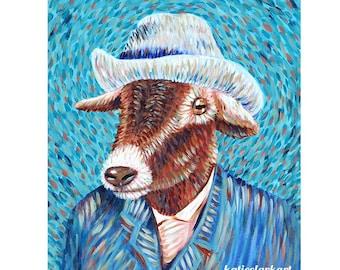 Vincent van Goat #2 - Parody Alternative Vincent Van Gogh with Hat Portrait Print of Painting - Fine classic Famous Art