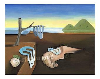 The Persistence of Shyguy - Art Print of Original Acrylic Painting - Alternative Salvador Dali Shy Guy Video Game Fan Art Parody