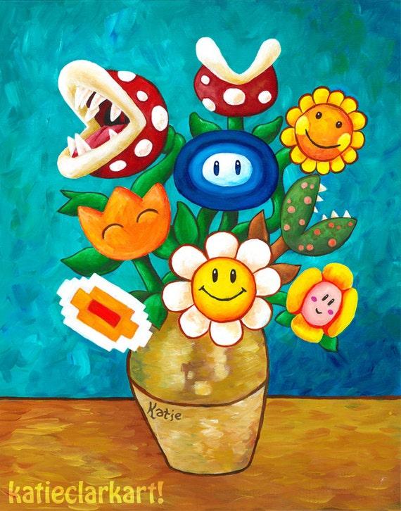 Mario Van Goghs Flower Vase Nintendo Print Etsy