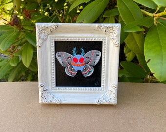 Cecropia Mothman - Small Original acrylic painting - Monster Creature Cryptid Butterfly wings cecropia moth art