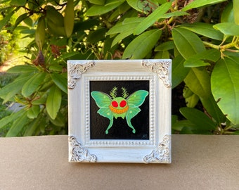 Luna Mothman - Small Original acrylic painting - Monster Creature Cryptid Butterfly wings Luna moth art