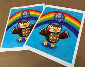 Blathers  - art print of original Animal Crossing museum owl painting