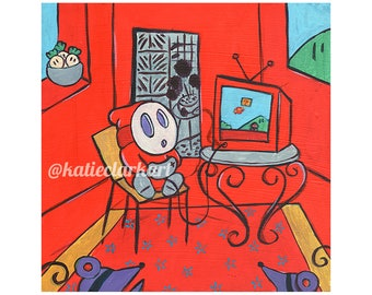 Quarantine Guy Print - Art Print of Original Acrylic Painting - Alternative Henri Matisse Portrait Shy Guy Video Game Fan Art Parody