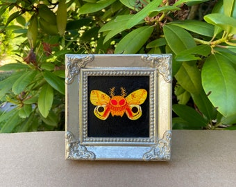 Io Mothman - Small Original acrylic painting - Monster Creature Cryptid Butterfly wings io moth art