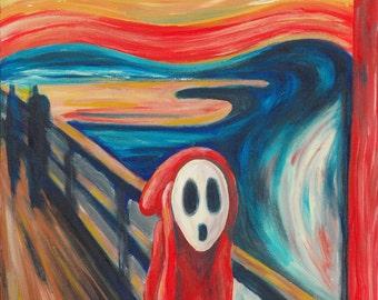 The Scream Print - Shy Guy Painting - Alternative The Scream - Shy Guy Fan Art - The Scream Parody - Video Game Art