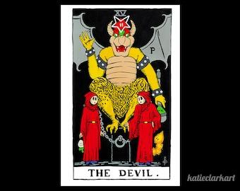 The Devil - Geeky Bowser Tarot Card Print - Rider Waite Parody Painting - Video Game Fan Art